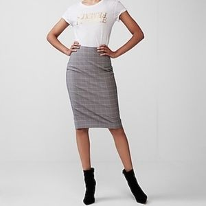 Express Grey Plaid Pencil Skirt